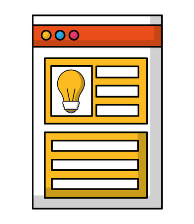 web page template with light bulb isolated icon vector illustration design Çizim