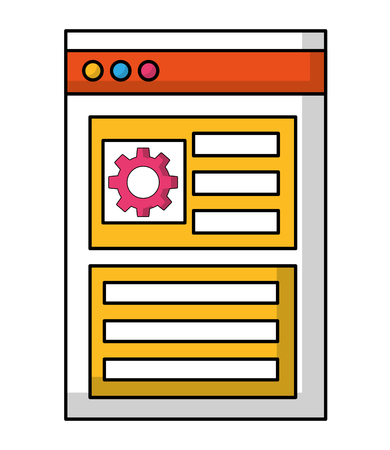web page template with gear isolated icon vector illustration design 向量圖像