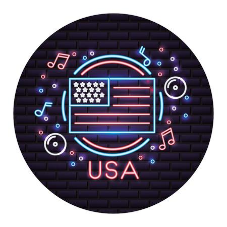 united states of america flag with neon lights vector illustration design Çizim