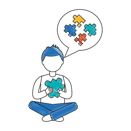 man sitting with puzzle piece thinking strategy vector illustration