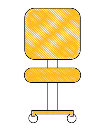 office chair with wheel furniture front view vector illustration