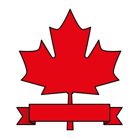 red maple leaf canadian symbol emblem vector illustration Illustration