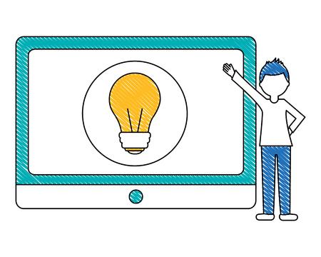 Mann , der Tablette mit Glühlampe Idee Innovation Vektor-Illustration zeigt Standard-Bild - 103030864