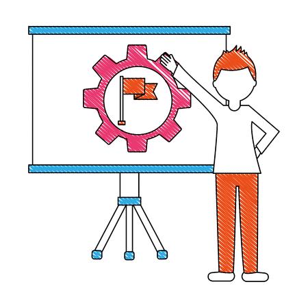 businessman pointing board with presentation gear flag vector illustration