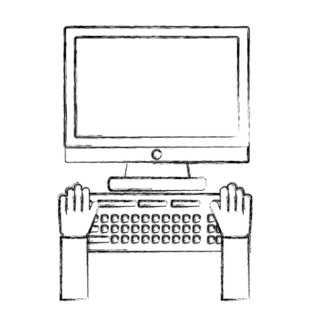 hands with desktop computer isolated icon vector illustration design