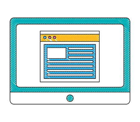 tablet computer and website document data vector illustration
