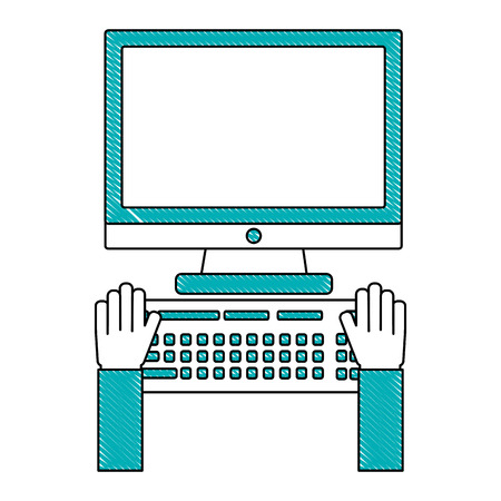 hands working keyboard computer device vector illustration
