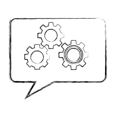 speech bubble with gears machine isolated icon vector illustration design  イラスト・ベクター素材