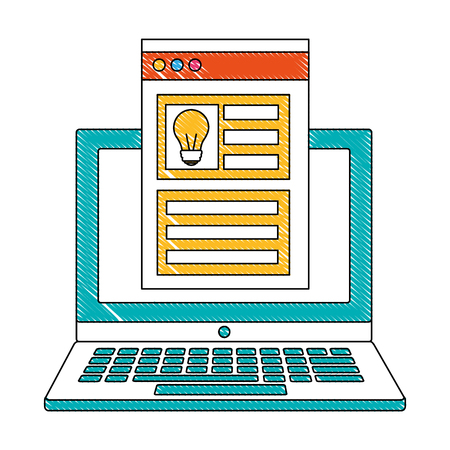 laptop creativity innovation website information business vector illustration 일러스트