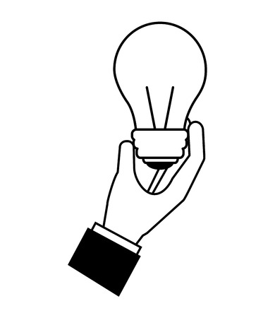 hand with light bulb isolated icon vector illustration design