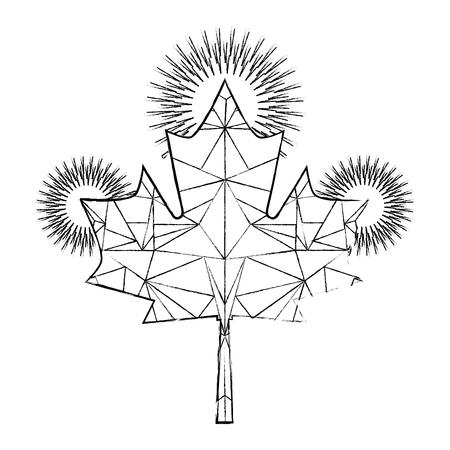 maple leaf canadian symbol geometric design vector illustration Ilustração