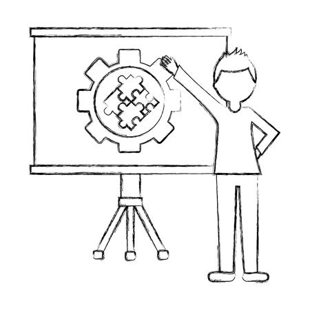 businessman pointing board with presentation diagram gear vector illustration