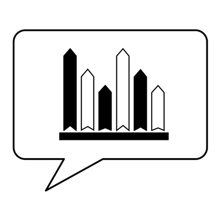 speech bubble with statistical graphics isolated icon vector illustration design