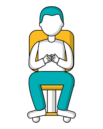 man sitting in office chair with wheels isolated icon vector illustration design Vettoriali