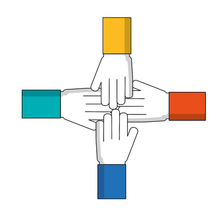 united hands isolated icon vector illustration design