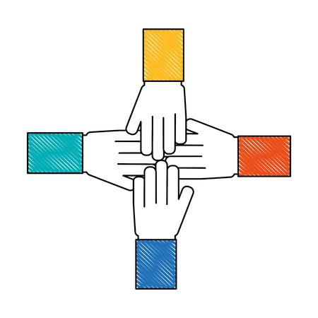 hands together unity teamwork concept vector illustration