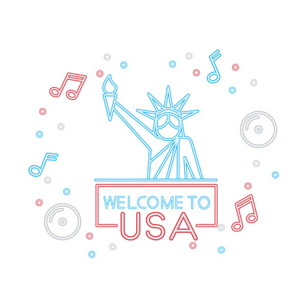 welcome to usa statue of liberty neon vector illustration Vettoriali