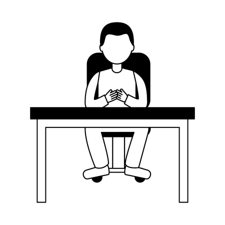 man sitting inf office chair with desk isolated icon vector illustration design Illustration