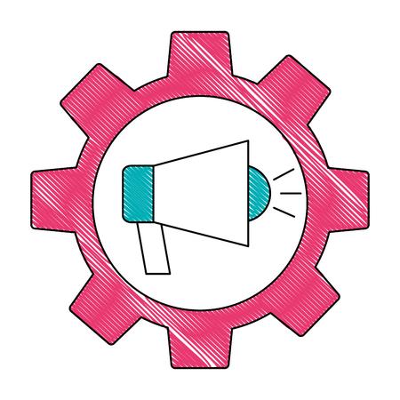 gear teamwork megaphone marketing advertising vector illustration