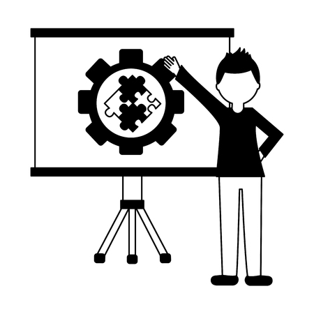 paperboard training with gear and puzzle pieces isolated icon vector illustration design