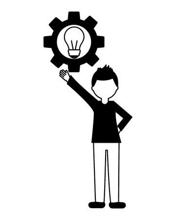 Hombre joven con el engranaje y la bombilla icono ilustración vectorial de diseño Foto de archivo - 103034974