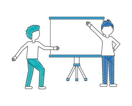 business people and billboard presentation empty vector illustration