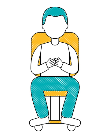 man character sitting on office chair vector illustration