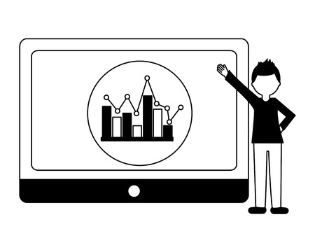 tablet device with young man and statistical graphics vector illustration design