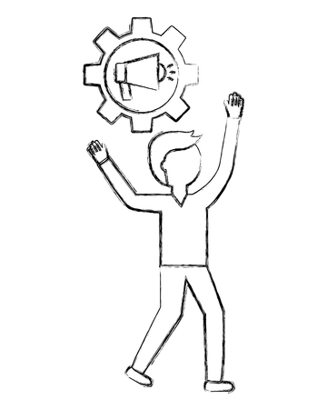 young man with gear and megaphone vector illustration design