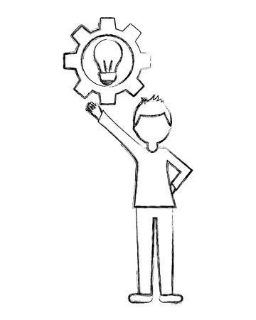 Junger Mann mit Gang und Glühbirne isoliert Symbol Vektor-Illustration Design Standard-Bild - 103035008