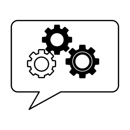 speech bubble with gears machine isolated icon vector illustration design Ilustrace
