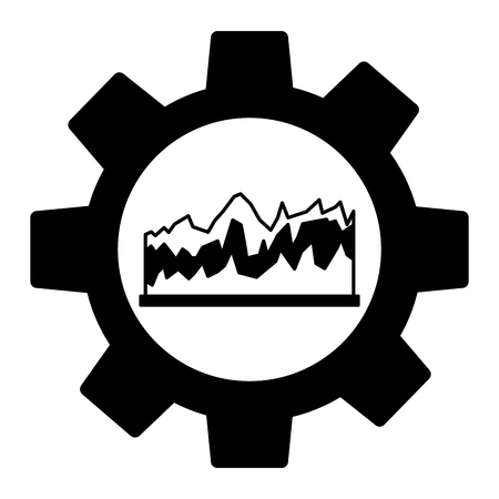gear machine with statistical graphics isolated icon vector illustration design