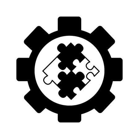 gear machine with puzzle pieces isolated icon vector illustration design Ilustrace