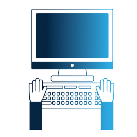 hands working keyboard computer device vector illustration neon blue  イラスト・ベクター素材