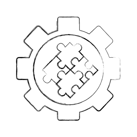 gear machine with puzzle pieces isolated icon vector illustration design  イラスト・ベクター素材