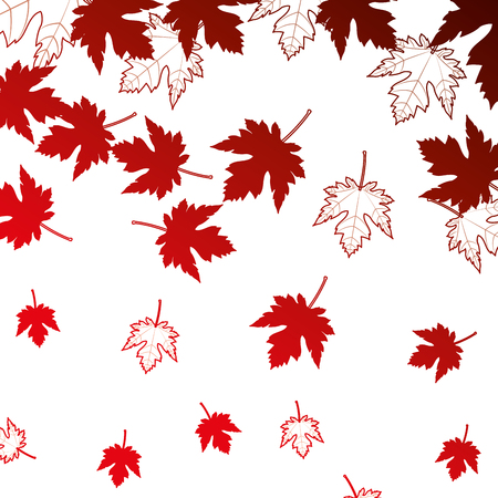 red maple leaf decoration pattern vector illustration neon red Illustration