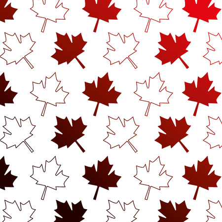 red maple leaf decoration pattern vector illustration neon red Ilustração
