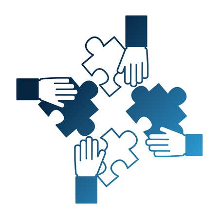 hands with pieces puzzles connected teamwork vector illustration neon blue Stockfoto - 103035072