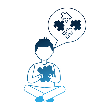 man sitting with puzzle piece thinking strategy vector illustration neon blue