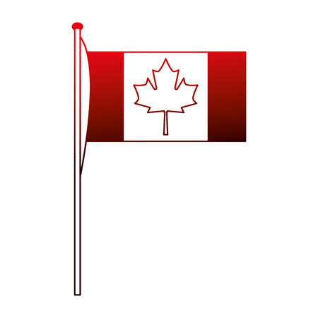 canadian flag national emblem image vector illustration neon red Illustration