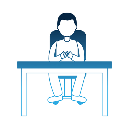 man sitting on chair and desk office vector illustration neon blue Illustration