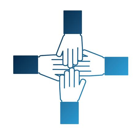 hands together unity teamwork concept vector illustration neon blue Illustration