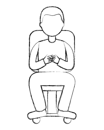 man character sitting on office chair vector illustration sketch