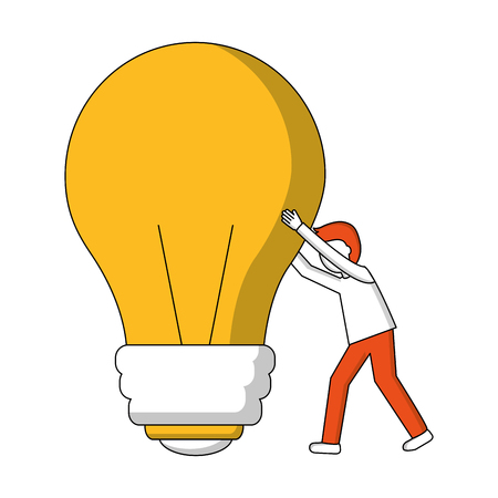 young man with light bulb isolated icon vector illustration design Ilustrace