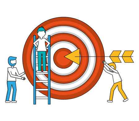 target arrow success with young men and construction ladder vector illustration design
