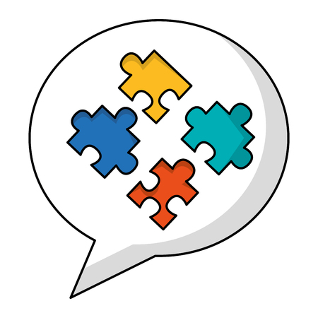 speech bubble with puzzle pieces isolated icon vector illustration design Vectores