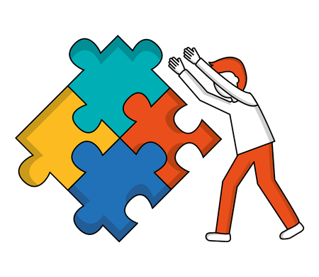 young man with puzzle pieces isolated icon vector illustration design Stok Fotoğraf - 103035332