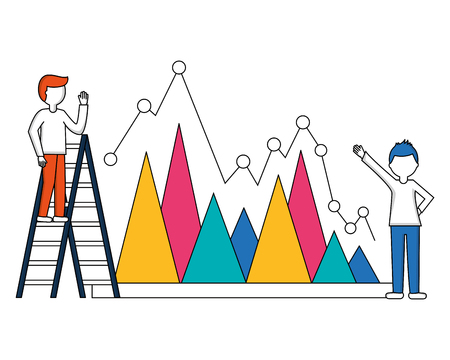 statistical graphics with young people and construction ladder vector illustration design Ilustração