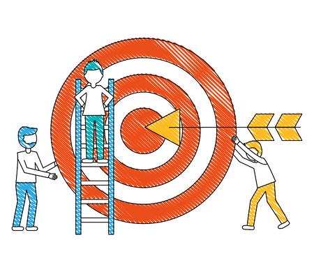 objetivo flecha éxito con los hombres jóvenes y la construcción de escalera ilustración vectorial de diseño