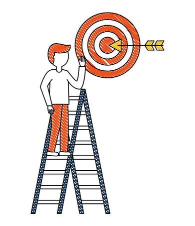 man in construction ladder with target arrow success vector illustration design Çizim